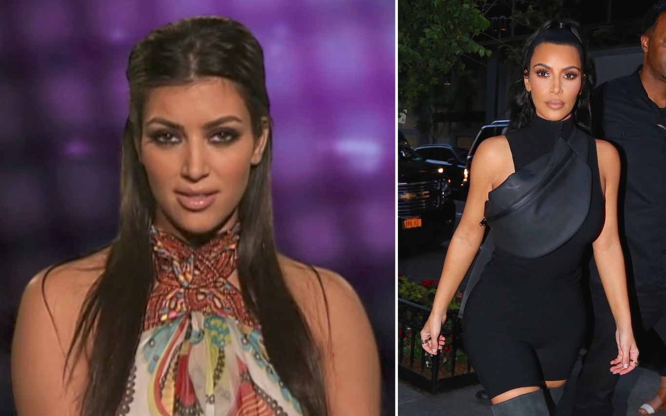Kim Kardashian en 2007 y en 2018