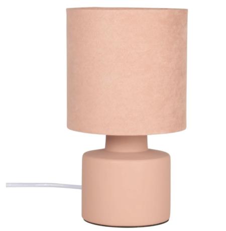 Lampara De Ceramica Con Pantalla De Terciopelo Rosa Vienna