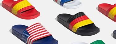 """Adidas amplía su colección de chanclas """"Adilette"""" con las banderas de cada país (incluida la española)"""