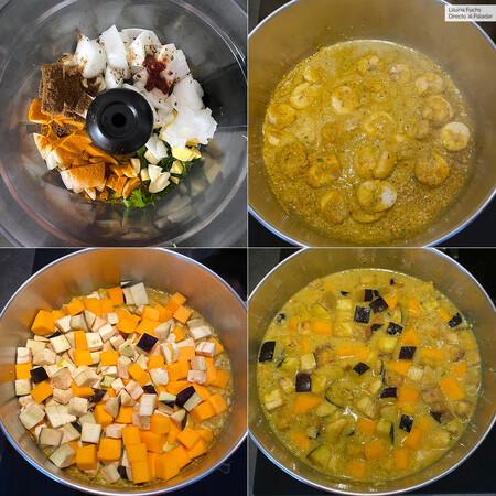 Curry de Platano y Calabaza. Pasos