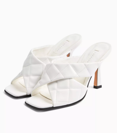 Skyla White Quilted High Mules