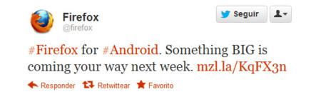 teaser Mozilla Firefox para Android en Twitter