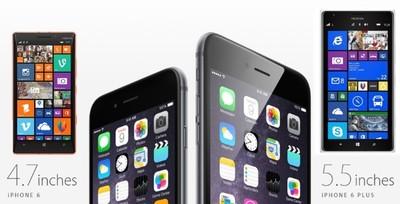 Los nuevos iPhone frente a frente con sus equivalentes en la gama Nokia Lumia