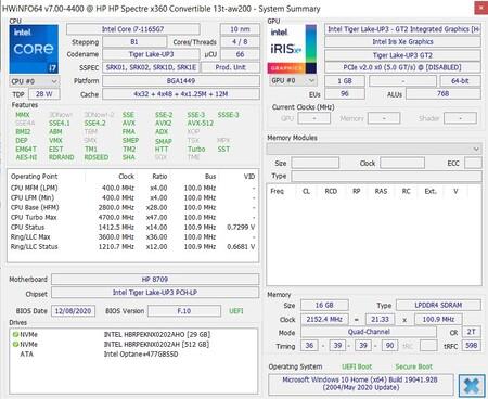 Specs Intel 11a Gen