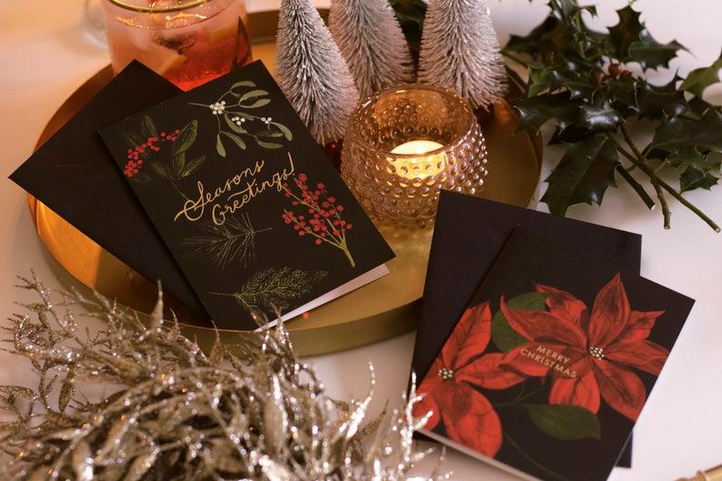 """Tarjeta de Navidad de la vendimia botánica Poinsettia - """"Feliz Navidad"""""""