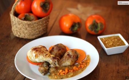Muslos de pollo con salsa cremosa de kaki persimón, la receta más original de pollo guisado