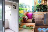 Antes y después: de terraza insulsa a rincón paradisíaco usando palets
