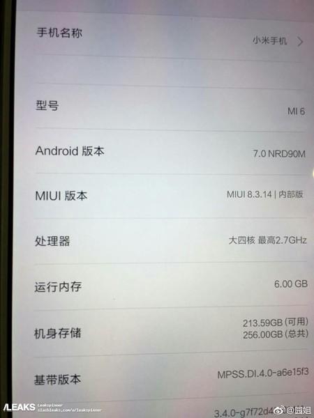 Xiaomi Mi6 Rumor