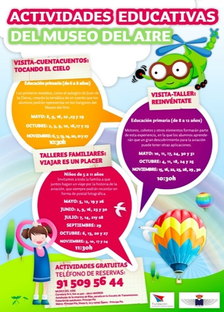 El Museo del aire propone muchas actividades didácticas para los niños en el año 2012