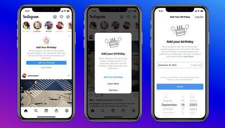 Instagram te pide tu fecha de nacimiento y, si rechazas esa petición varias veces, no podrás usar la aplicación
