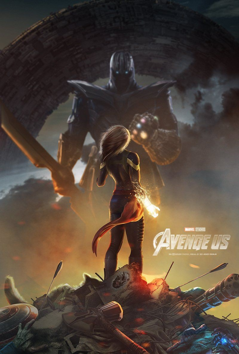 Captain Marvel vs. Thanos in a fan poster of Avengers 4