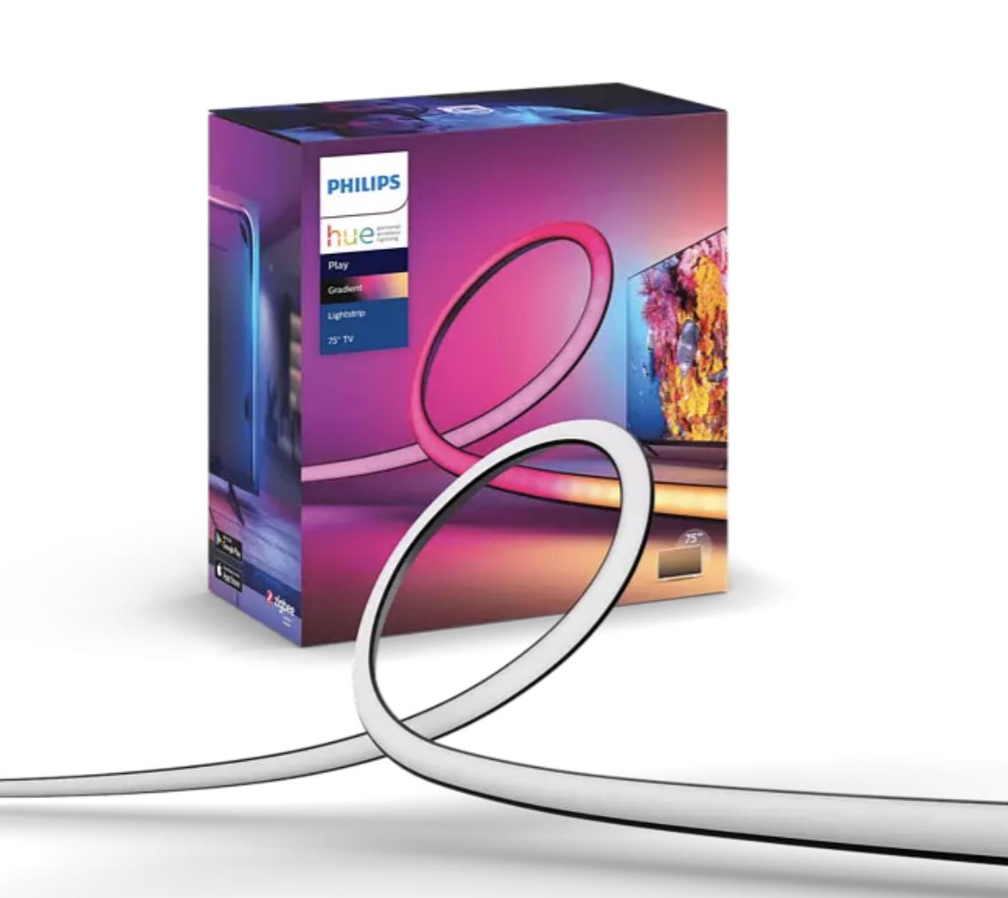 "Luces LED - Philips Hue Play Gradient Lightstrip, Tira LED para TV de 75"", 6500 K, Luz blanca y color"