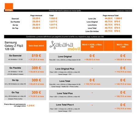 Precios Samsung Galaxy Z Flip3 256 Gb Con Pago A Plazos Y Tarifas Orange
