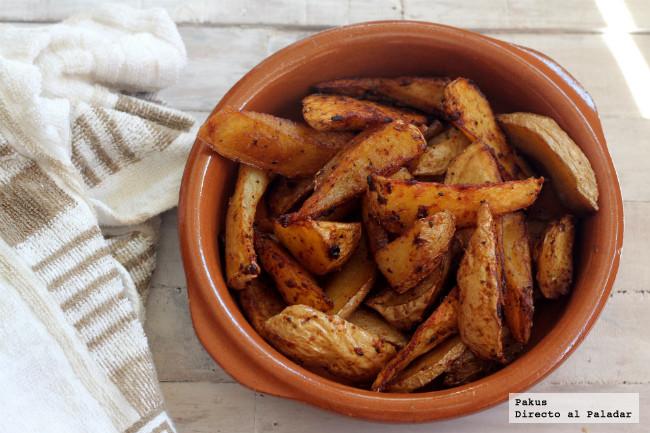 Receta de gajos de patatas especiadas para guarnición