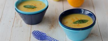 Crema de manzana al curry con zanahoria y naranja, receta  fácil y rápida