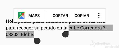 Cómo usar el selector de texto inteligente de Android Oreo para buscar direcciones, llamar, enviar correos y más