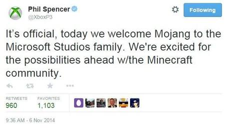 Microsoft finaliza la compra de Mojang por 2.5 mil millones de dólares
