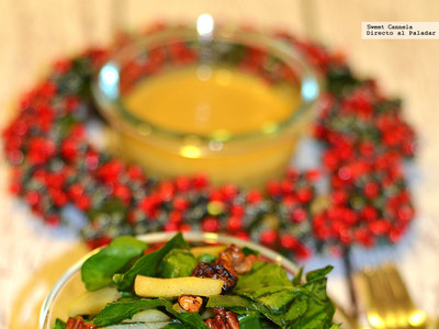 Ensalada de espinacas, manzana y nueces con aderezo de mostaza. Receta para Año Nuevo