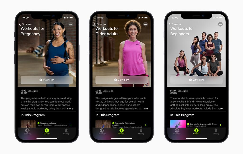 Apple Fitness+ poseera recientes ejercicios para edades avanzadas, embarazadas y principiantes