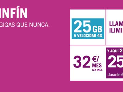 La SinFin de Yoigo crece en gigas y precio: 25 GB a cambio de 32 euros al mes