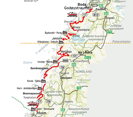 Ntr Route Map Helgelandskysten Norway 452
