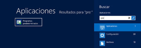 Buscar programas predeterminados en Windows 8