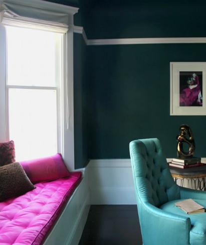 Un salón en azul