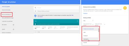 Mi Actividad, cómo borrar información de Google