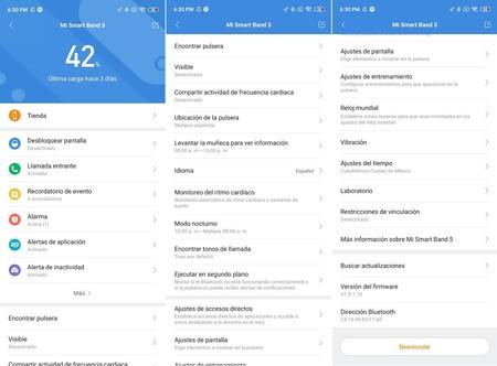 Xiaomi Mi Smart Band 5 Analisis Mexico Aplicacion Mi Fit Configuraciones