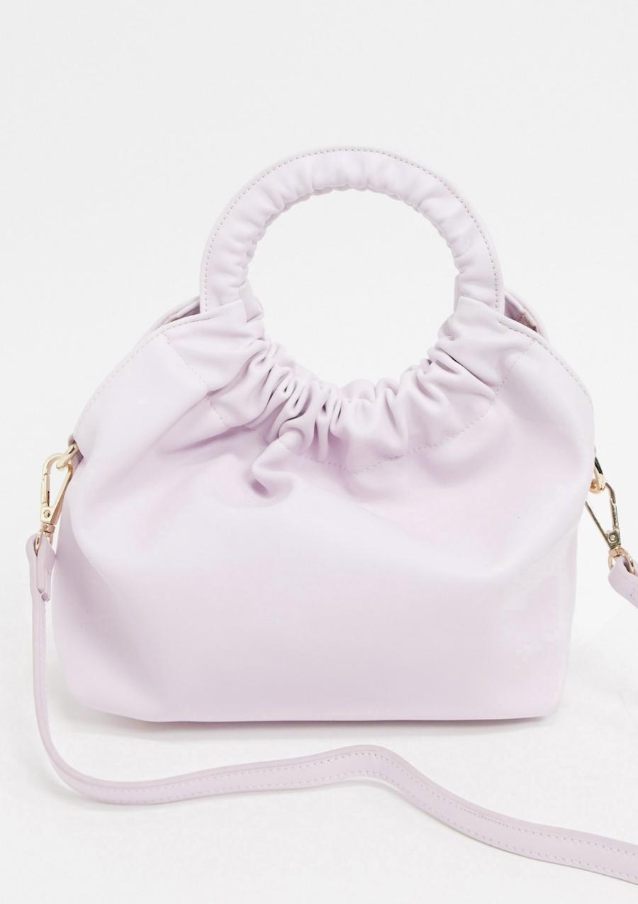 Bolso pequeño con asa fruncida en lila exclusivo de Liars & Lovers