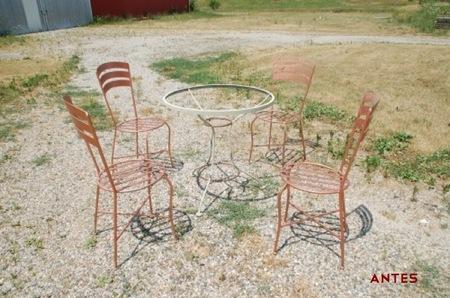 Antes y después: mobiliario rústico de jardín