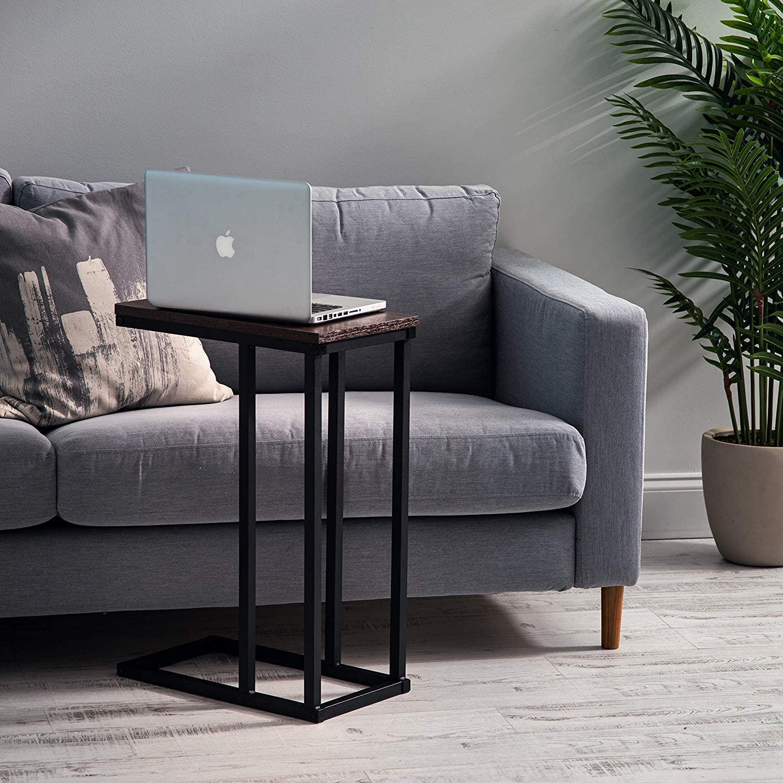 Marca Amazon - Movian Mesa auxiliar / Extremo del sofá / Mobile mesita de noche de madera MDF y metal - C-Shape Side Table SDT-L -