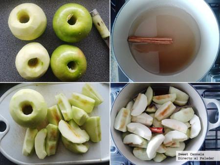 Preparación compota de manzana