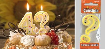 velas curiosas para la tarta - interrogante