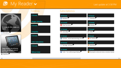 MyReader, cliente de Google Reader para Windows 8