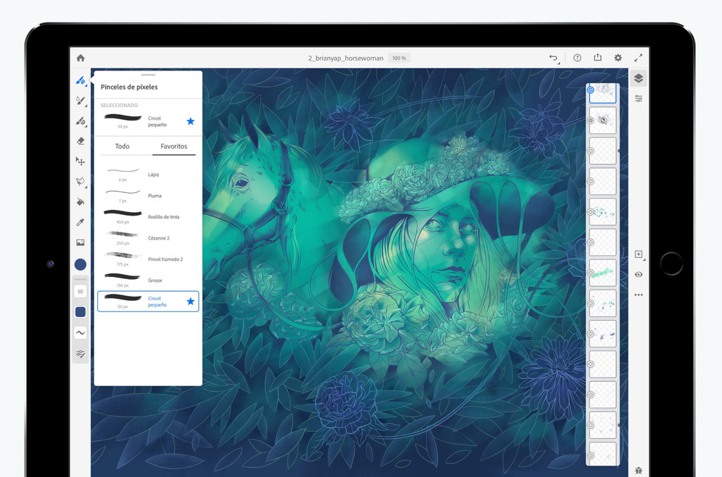 Fresco, la nueva app de dibujo de Adobe℗ para iPadOS, disponible mañana