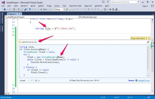 workspace bing edit code search