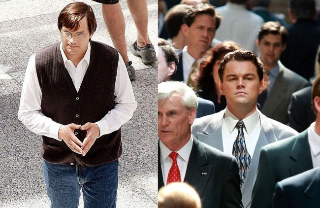 Ashton Kutcher en jOBS y Leonardo DiCaprio en The Wolf of Wall Street