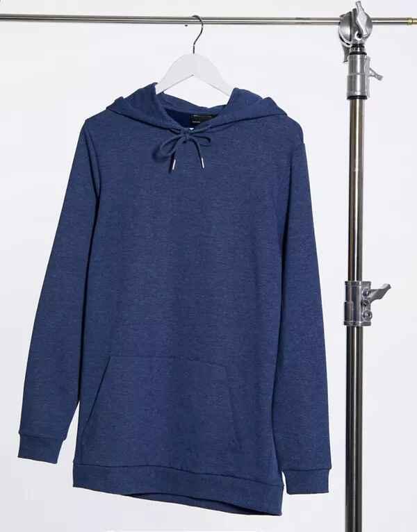 Sudadera larga azul con capucha de algodón orgánico de ASOS DESIGN
