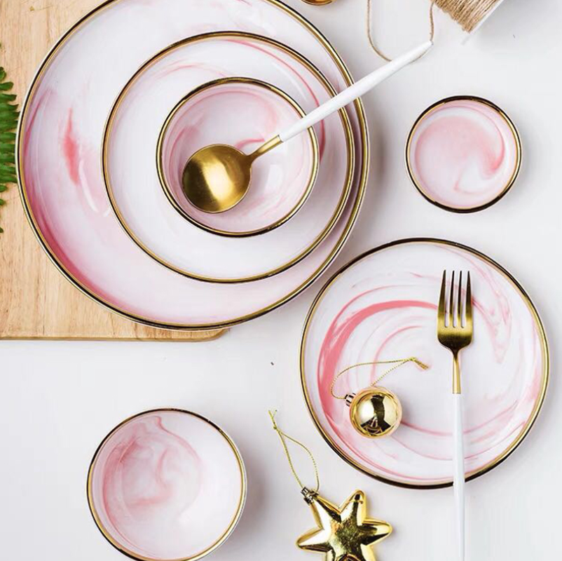 1 unidad de plato de cerámica de mármol rosa para la cena, plato de fideos para ensalada de arroz, plato de sopa, juego de vajilla casera, herramienta de cocina