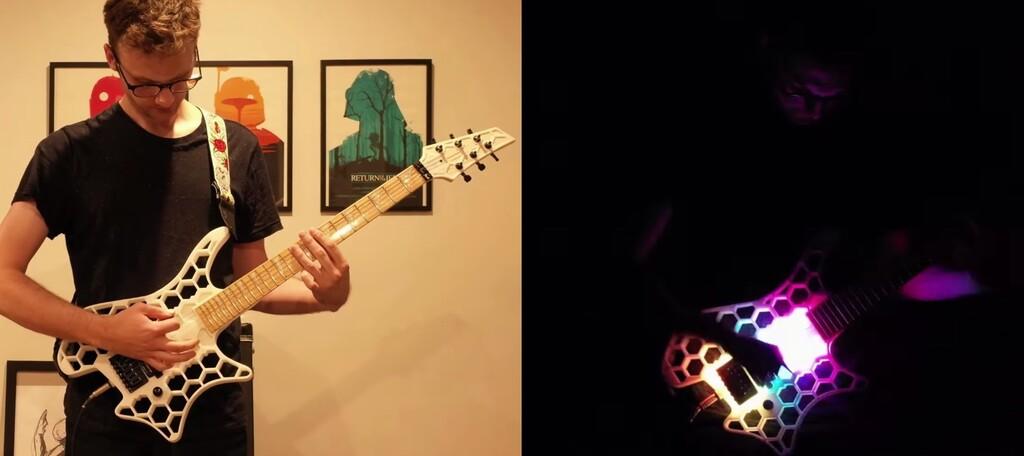 Esta guitarra impresa en 3D se ilumina al son de la música utilizando LEDs sincronizados con una placa base
