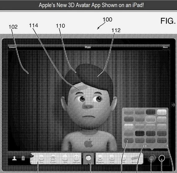 Captura de pantalla de la posible aplicación para el diseño de avatares en 3D de Apple