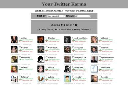 Twitter Karma, navegación por nuestra lista de seguidos y seguidores en Twitter