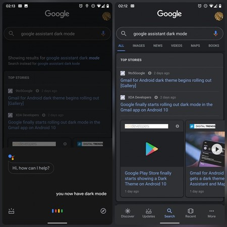 Google App Assistant Dark Theme