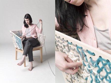 Personaliza una silla, con lana de colores a tu gusto