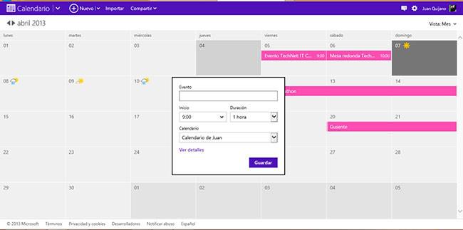 Calendario Microsoft Live, alta de evento