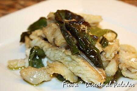 Bacalao con pimientos verdes, receta