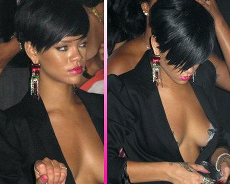 Rihanna también a pecho descubierto