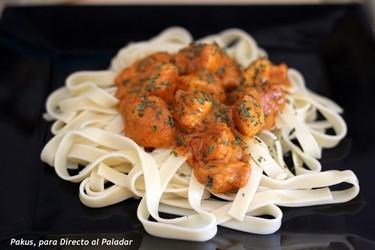 Receta de fetuccini con curry de pollo tipo madrás
