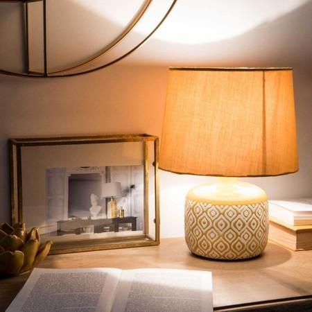 Lampara De Ceramica Amarilla Con Motivos Blancos Lynn 1000 10 21 170622 5